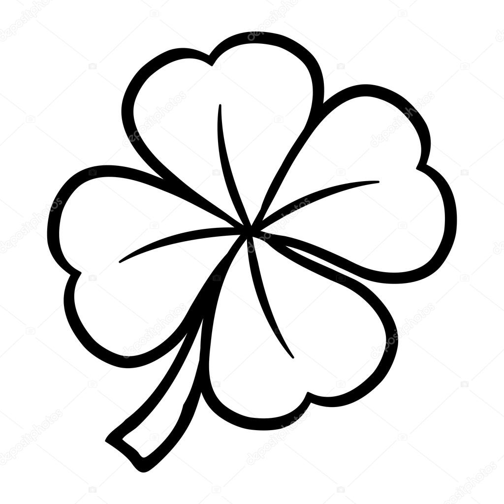 lucky four leaf clover — stock vector © briangoff 99817974