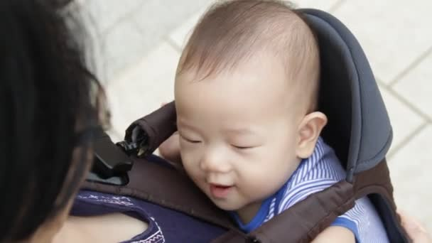 Asian baby in a baby carrier