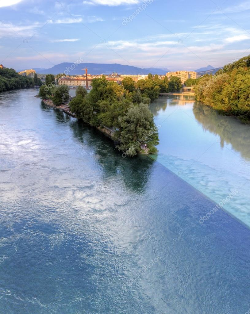 Rhone and Arve river confluence, Geneva, Switzerland, HDR