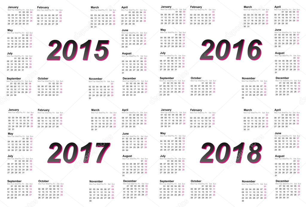 Ensemble Des Calendriers De L Annee 2015 2016 2017 Et 2018