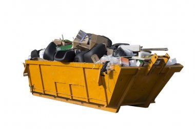 Yellow rubbish container isolated on white