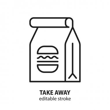 Take away vector concept. Package with food line icon. Editable stroke. icon