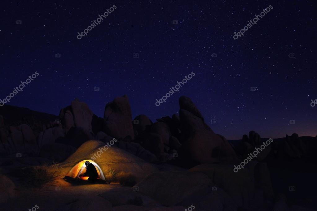 Night Camping In Joshua Tree National Park Stock Photo
