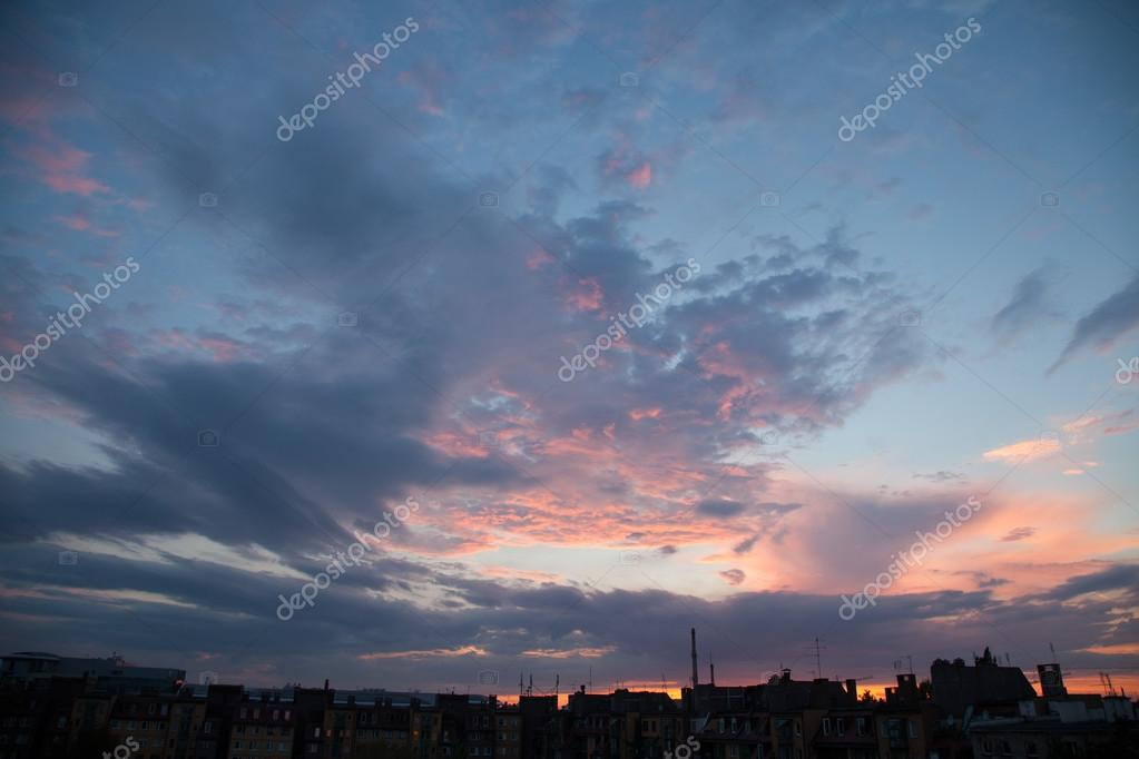 Sunset sky with blue and purple tones