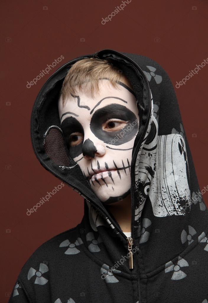 Halloween Zombie Schmink.Junge Mit Halloween Zombie Schmink Stockfoto