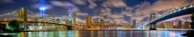 Manhattan panorama in memory of September 11