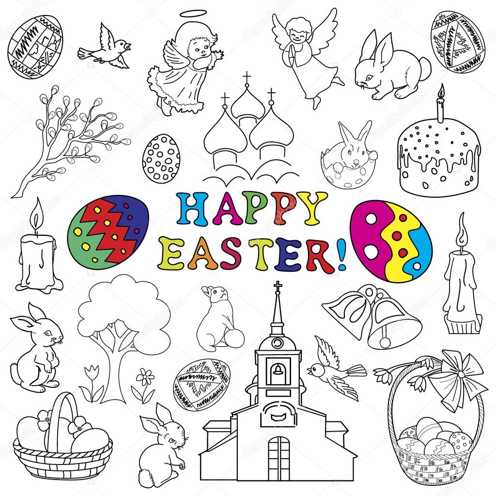 Easter traditional symbols collection stock vector aristarh easter traditional symbols collection easter eggs easter bunny willow twigs easter basket candles christian church egg decorating biocorpaavc