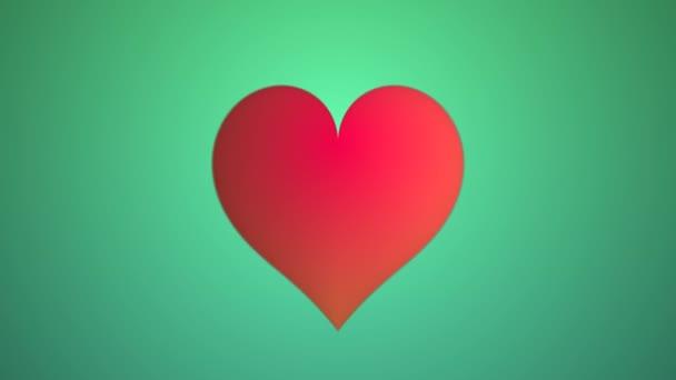 Měkké teplé zelené pozadí červené elastické odtržení srdce