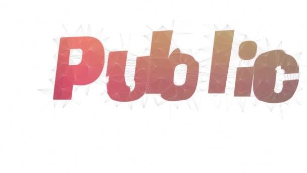 Text des öffentlichen Rechts Transformation von Tessellation Schleifen Polygone Text Morph