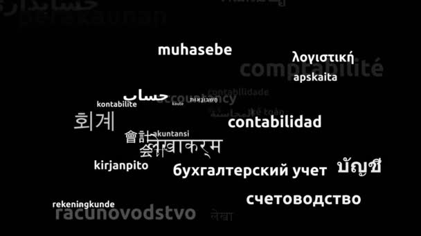 Accountancy Translated in 38 Worldwide Languages Endless Looping 3d Zooming Wordcloud Mask