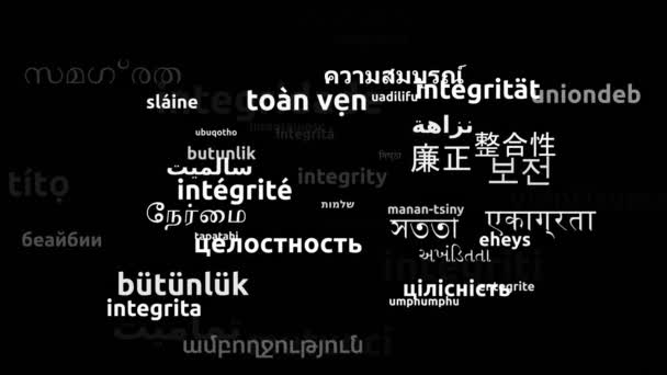 Integrity Translated in 47 Worldwide Languages Endless Looping 3d Zooming Wordcloud Mask