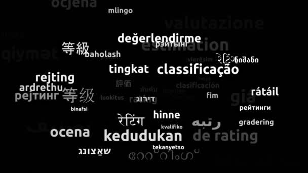 Rating Translated in 57 Worldwide Languages Endless Looping 3d Zooming Wordcloud Mask