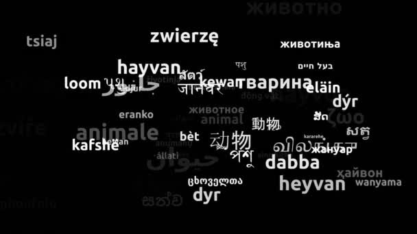 Animal Translated in 70 Weltsprachen Endless Looping 3D Zooming Wordcloud Mask