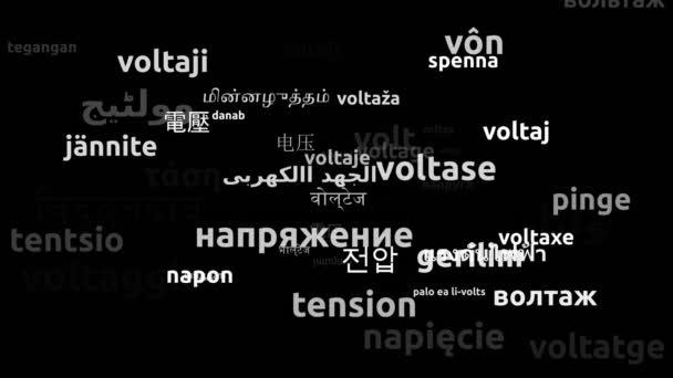Spannung übersetzt in 56 Weltsprachen Endlosschleife 3D-Zoomen Wordcloud-Maske