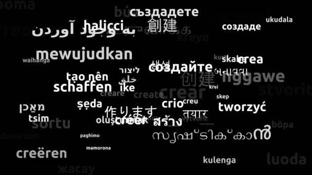 Vytvořit přeloženo v 66 světových jazycích Nekonečná smyčka 3D přiblížení Wordcloud maska