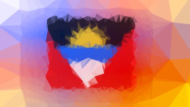 Antigua and Barbuda Flag ISO:AG fade modern tessellated looping pulsing polygons
