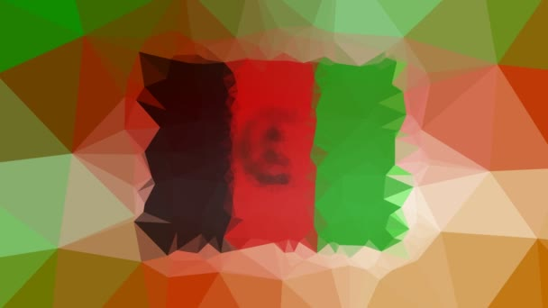 Afghanistan Flag ISO:AF dissolving technological tessellating looping moving polygons