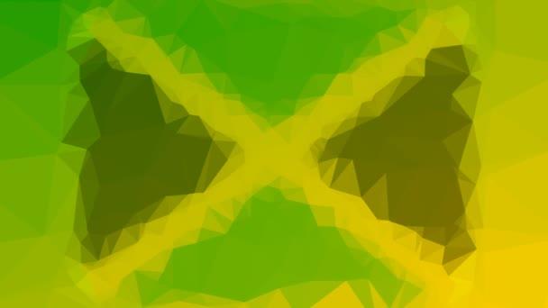 Jamajka Vlajka ISO: JM rozpouštění techno tessellation smyčka pulzní trojúhelníky