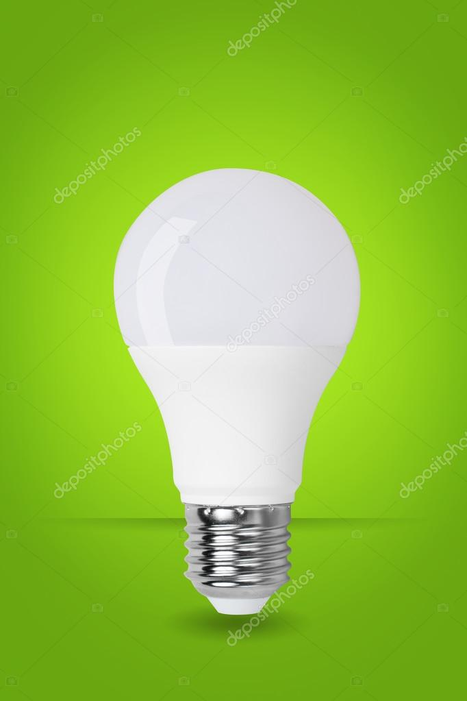 led bulb on green background — Stock Photo © zhudifeng #107210774