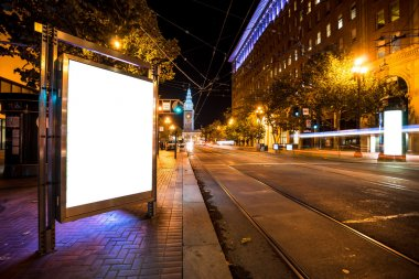 blank billboard on road with tramway in San Francisco