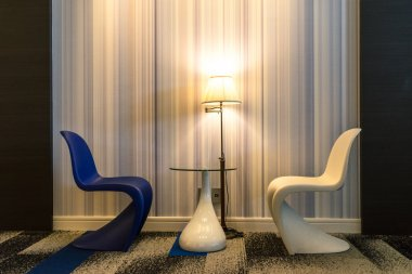 abstract shape chairs in room