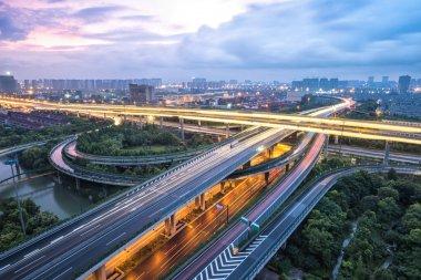road junction in Hangzhou at twilight