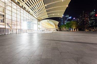 illuminated urban building exterior
