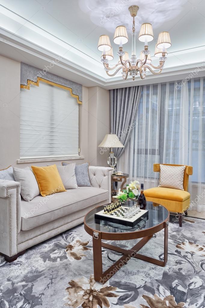 Moderne Wohnzimmer Luxus Dekoration Interieur Stockfoto