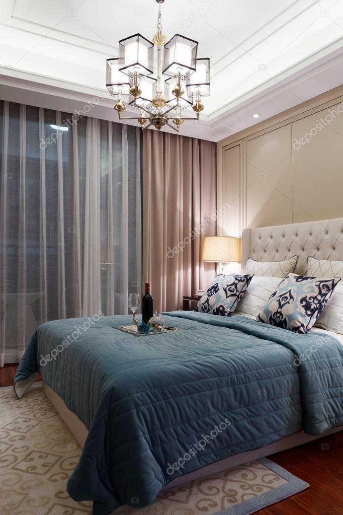 moderne Schlafzimmer Luxus Dekoration Interieur — Stockfoto ...