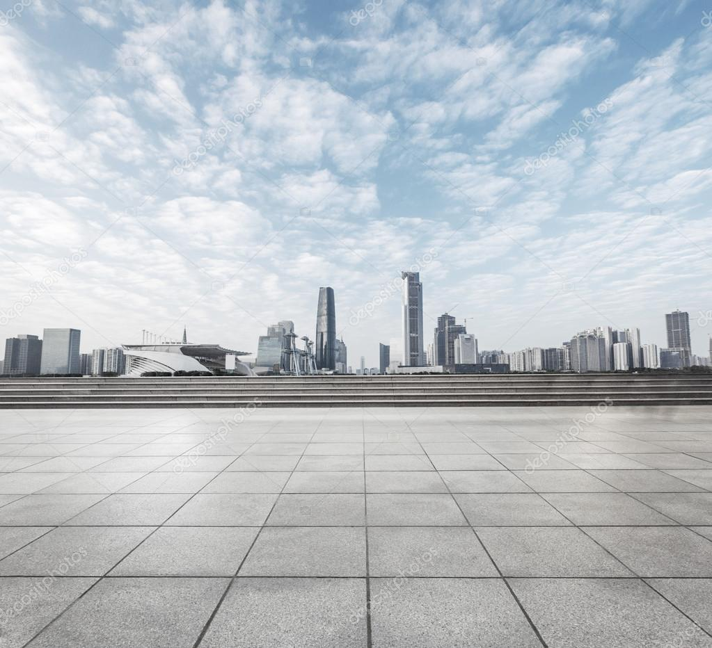 Modern square with skyline and cityscape