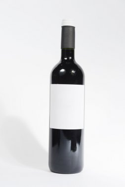 Wine bottle with empty label
