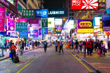 People travel in shopping street of Hong Kong