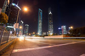 skyscrapers in modern city at night