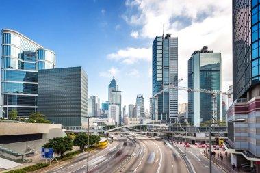 Traffic and buildings at modern city Hong Kong