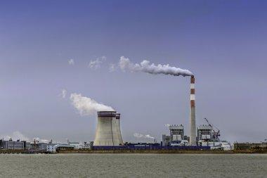 power station at riverbank