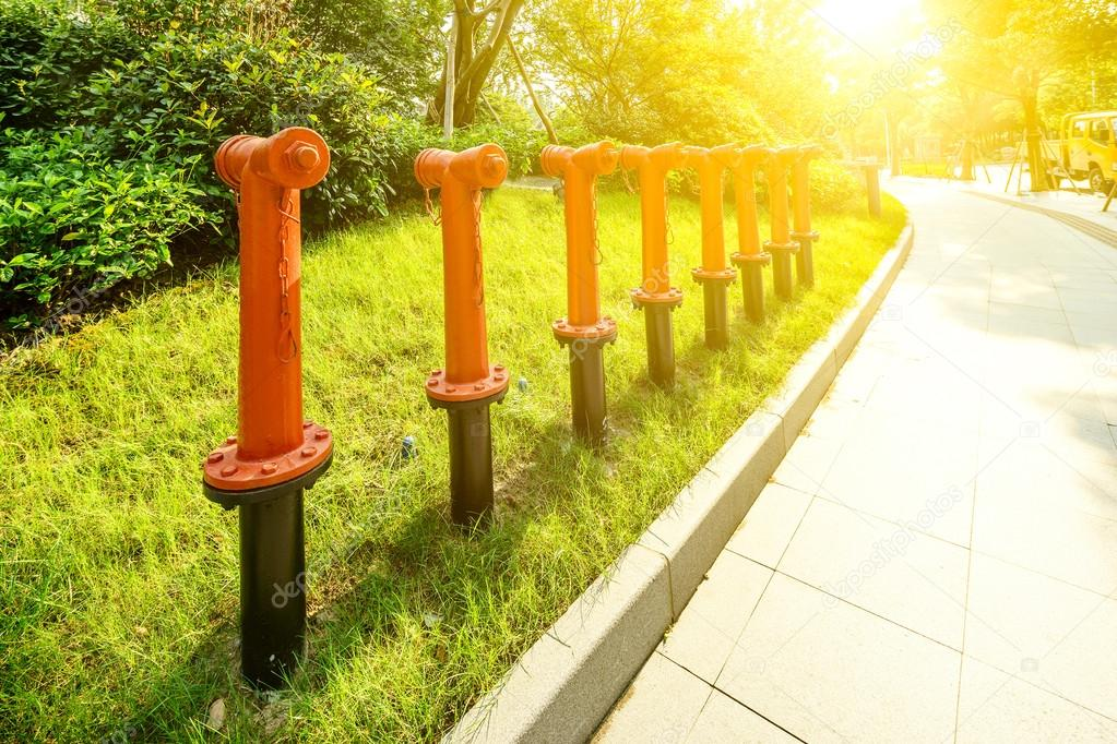 water pumps near green path in the park