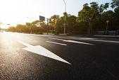 asphalt road with traffic signs