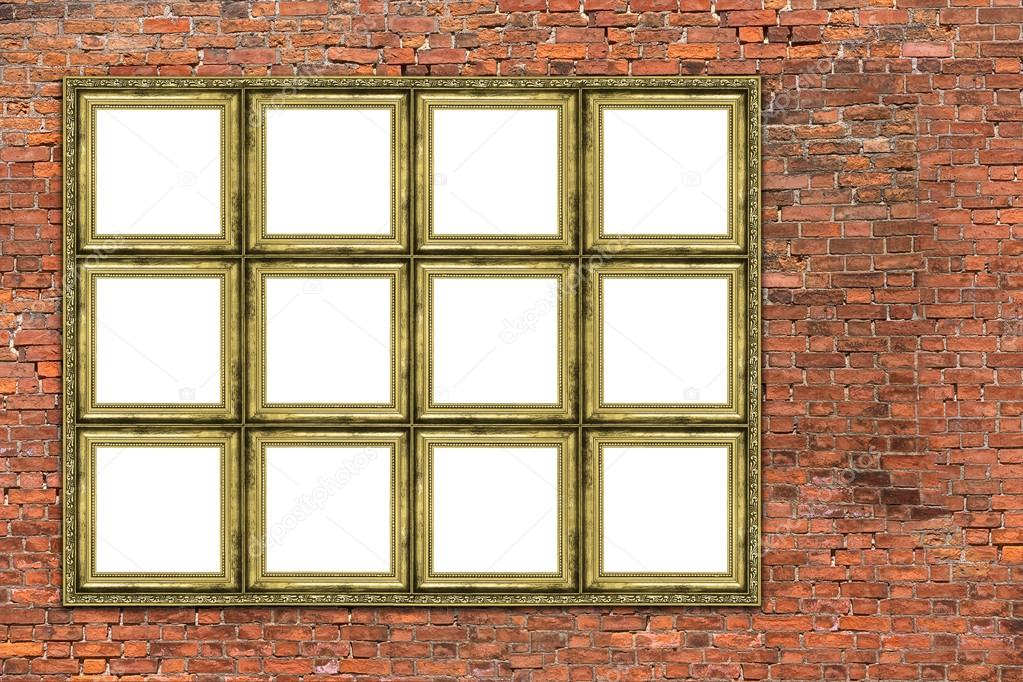 Großer goldener Rahmen über alte Mauer — Stockfoto © yoka66 #60436045