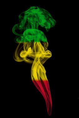 Smoke pillar colored in flag of reggae