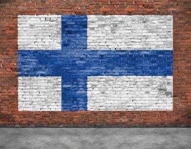 """Картина, постер, плакат, фотообои """"Национальный флаг Финляндии, написанные на кирпичной стене"""", артикул 68760211"""