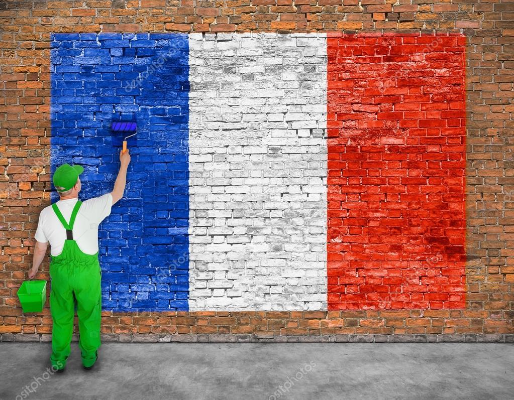 Fransa Bayrağı Ev Ressam Boyalar Stok Foto Yoka66 94275946