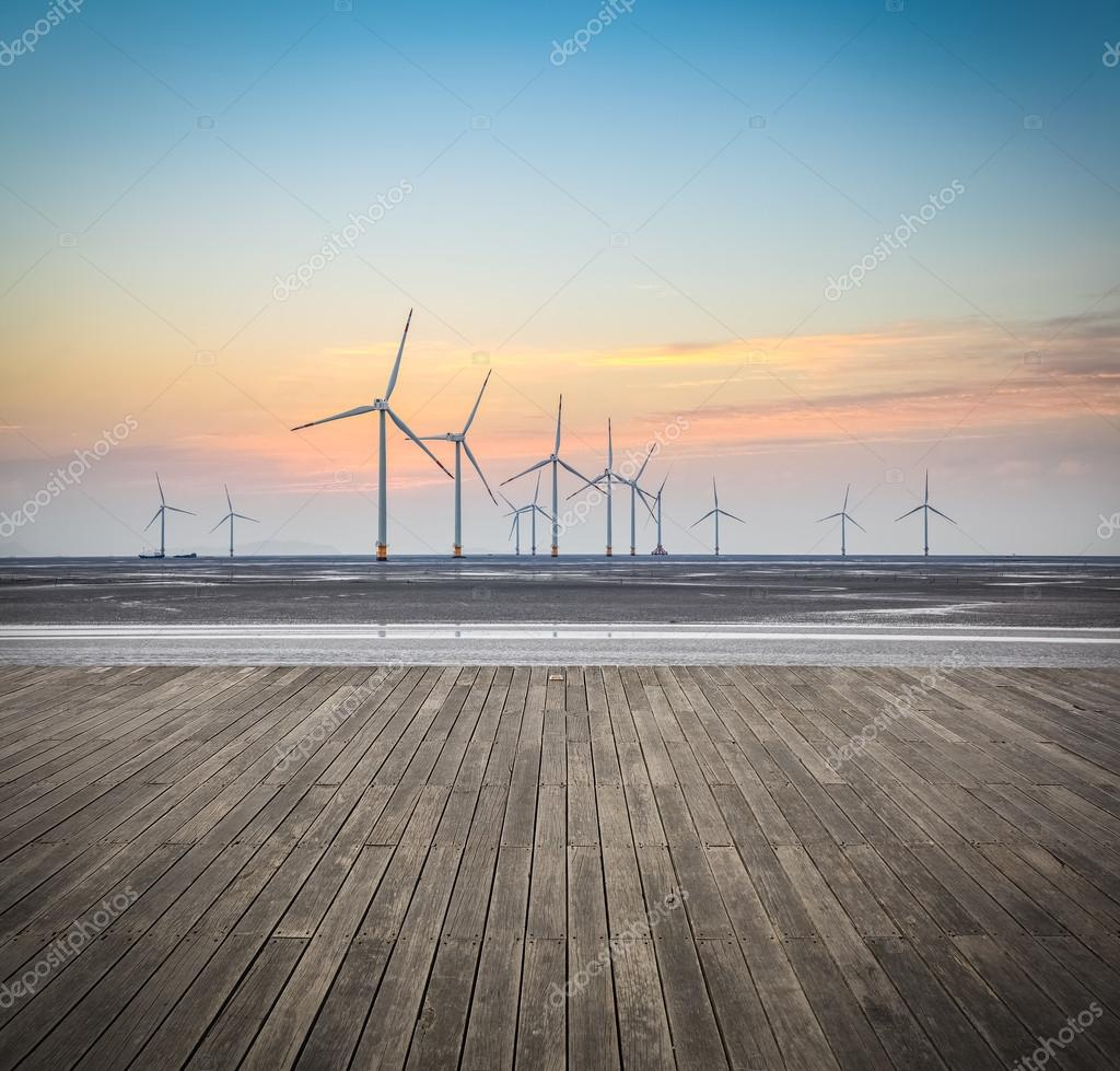 the scenery of offshore wind farms
