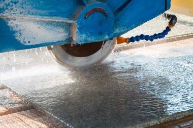 cutting granite closeup