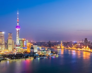 aerial view of huangpu river in nightfall