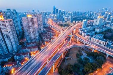 city interchange at nightfall