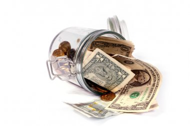 glass jar with small change