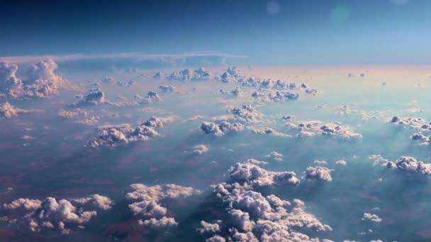pohled z okna letadla na obloze krajina s mraky
