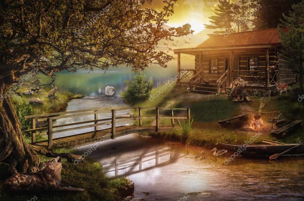 house near a stream