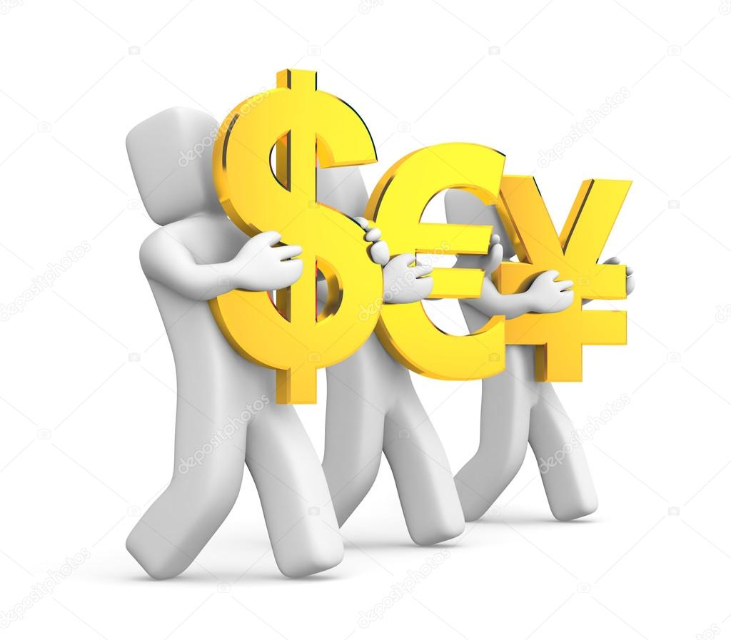 People Carry Symbols Of Money Stock Photo Pixelery 102621748