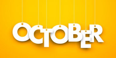 October. Text hanging on strings